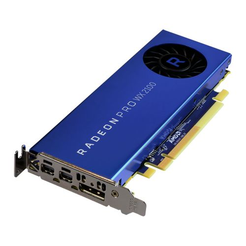 AMD Radeon Pro WX 2100 Professional Graphics Card, 2GB DDR5, DP, 2 miniDP (mDP to DVI Adapter), 1219MHz Clock, Low Profile (Bracket Included)